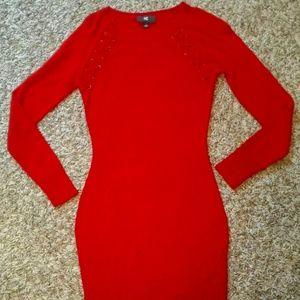 BodyCon Red sweater Mini Dress Women's IZ Byer